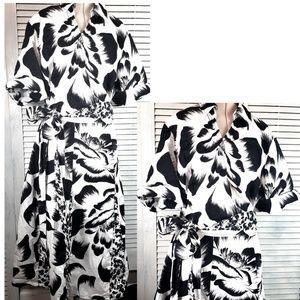 Lane Bryant Black White Floral Faux Wrap Dress 22